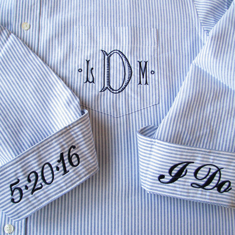 Striped or Solid Button Down Oxford Wedding Day Shirt with monogram