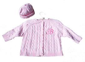 Cable Knit Baby Sweater monogrammed