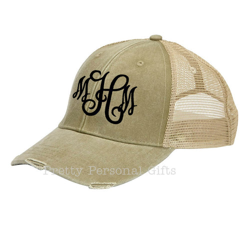 386ca66e558b6 Distressed Trucker Hat with monogram – Pretty Personal Gifts