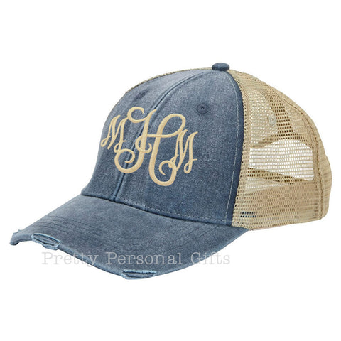 Distressed Trucker Hat with monogram