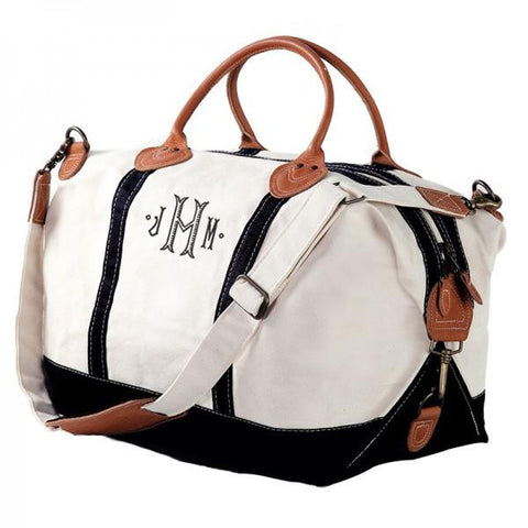black weekender bag with monogram