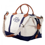 navy weekender bag with monogram