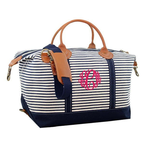 striped weekender bag personalized