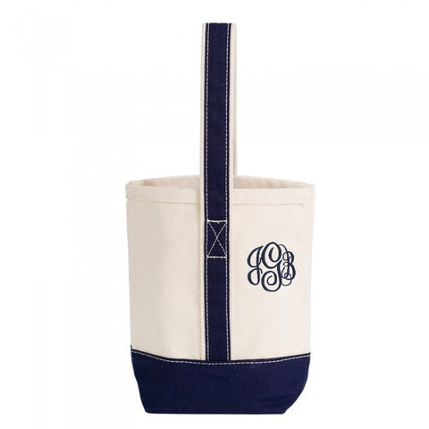 canvas wine tote monogrammed