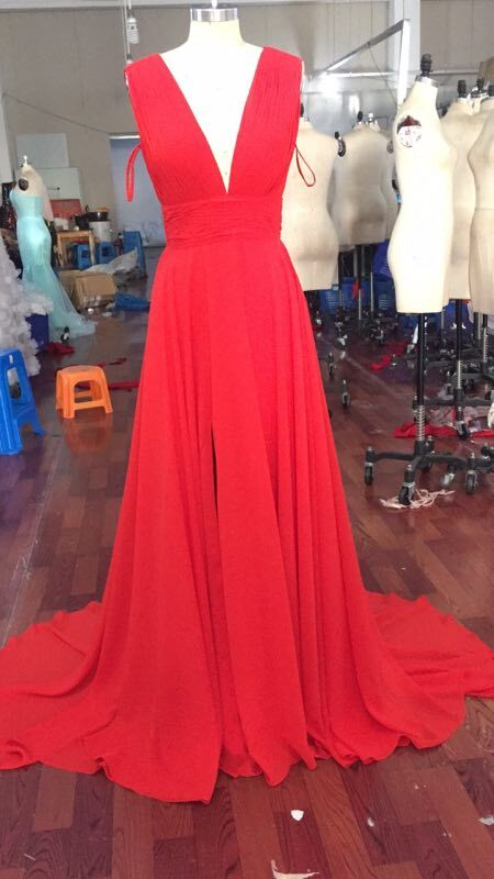 Finished Product Pictures of 2018.10.8 for Glamorous V Neck Red Prom Dresses, Red Formal Dresses, Red Evening Dresses