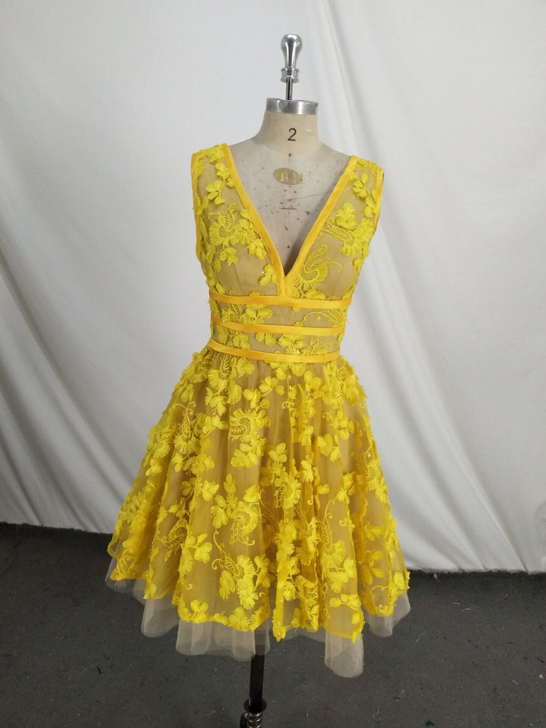 Unique V Neck Lace Appliques Yellow Short Prom Dresses Homecoming Dresses, Yellow Lace Formal Dresses, Graduation Dresses, Evening Dresses
