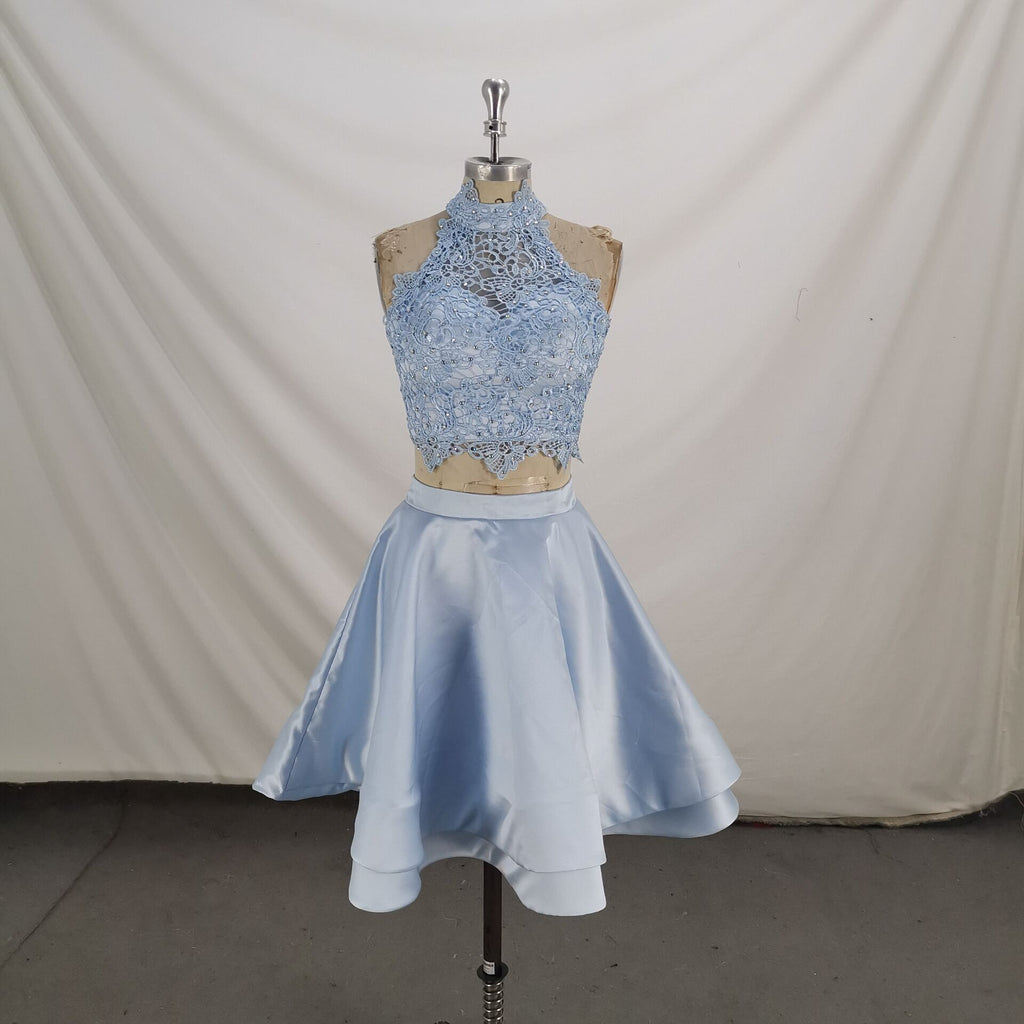 Two Pieces Short Blue Lace Prom Dresses