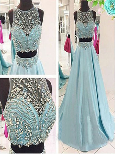 Custom Made A Line Round Neck 2 Pieces Prom Dress, 2 Pieces Formal Dress, Evening Dress