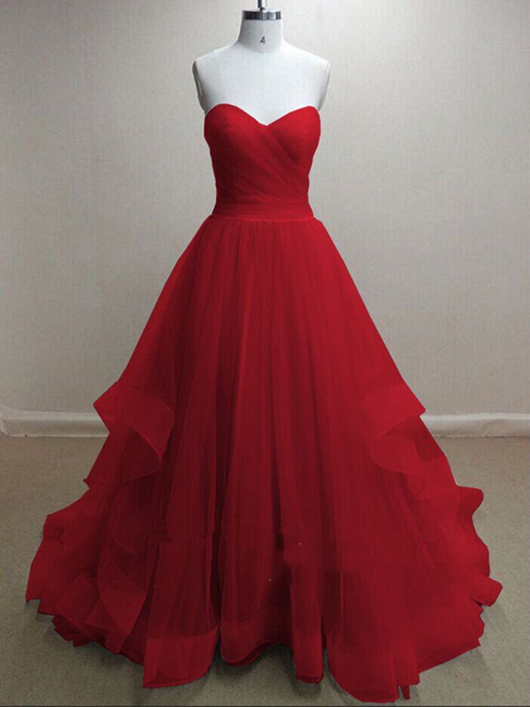 A Line Sweetheart Neck Greyred Prom Dresses Formal Dresses Red