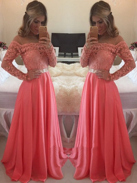 Custom Made A Line Floor Length Long Sleeves Coral Lace Prom Dress, Coral Lace Bridesmaid/Formal Dresses