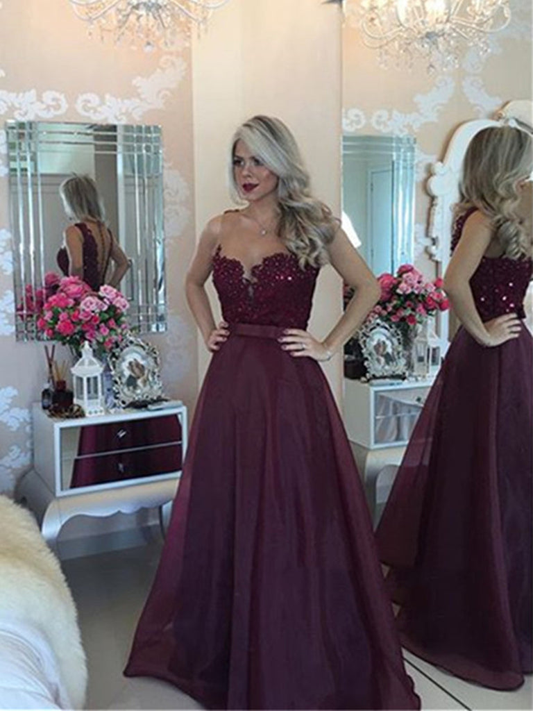 A Line Floor Length Maroon Prom Dress, Maroon Formal Dress, Burgundy Prom Dress