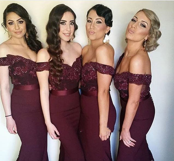 Sweetheart Neck Off Shoulder Maroon Lace Prom Dress, Maroon Lace Bridesmaid Dress, Maroon Formal Dress