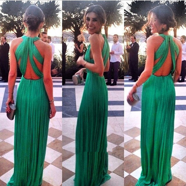 A Line Long Green Prom Dresses, Long Green Formal Dresses