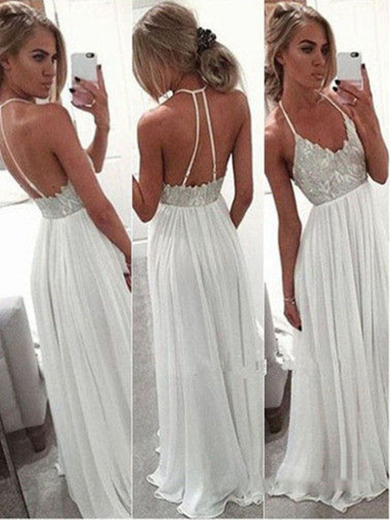 Custom Made White A-line Backless Long Prom Dresses, Formal Dress