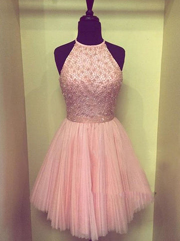 Round Neck Short Pink Prom Dresses, Short Pink Formal Dresses, Short Graduation Dresses, Pink Homecoming Dresses
