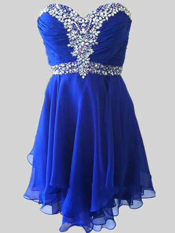 Custom Made A Line Sweetheart Neck Short Royal Blue Prom Dresses, Short Royal Blue Homecoming Dress, Graduation Dresses