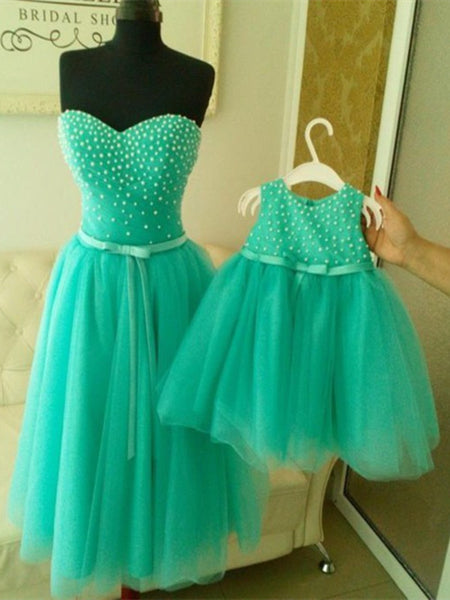 Custom Made A Line Sweetheart Neck Sleeveless Short Prom Dresses, Bridesmaid Dresses, Wedding Party Dresses, Flower Girl Dresses