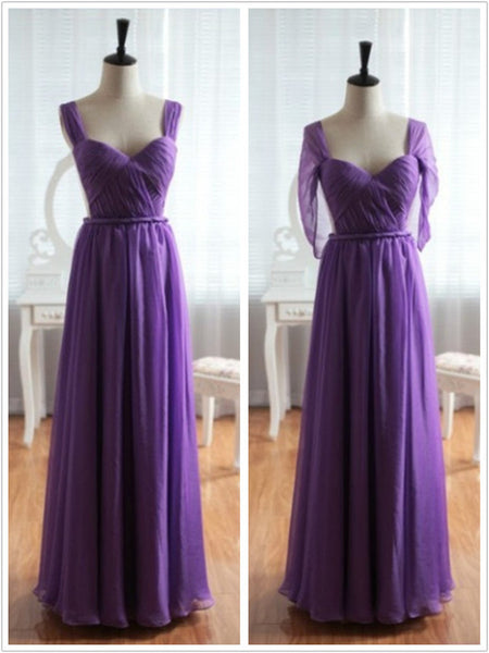 Light Purple Cap Sleeves Backless Chiffon Prom Dress, Purple Bridesmaid Dress