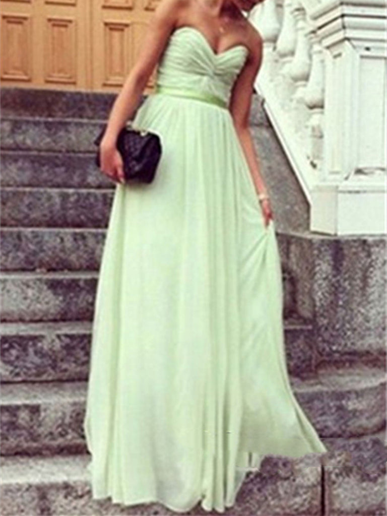 A Line Sage Long Prom Dresses, Long Bridesmaid Dresses, Formal Dresses, Wedding Party Dresses