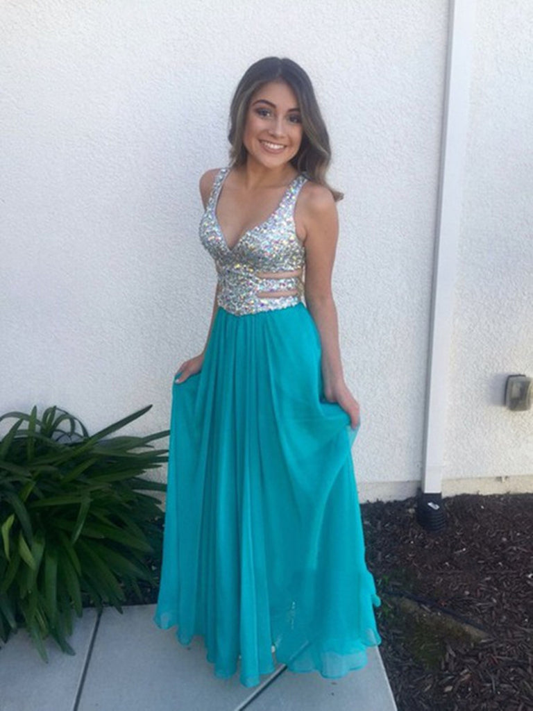 A Line Sweetheart Neck Blue Prom Dresses, Blue Formal Dresses