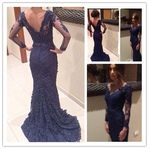 Custom Made Round Neck Navy Blue Lace Prom Dresses Lace Wedding Dresses Formal Dresses