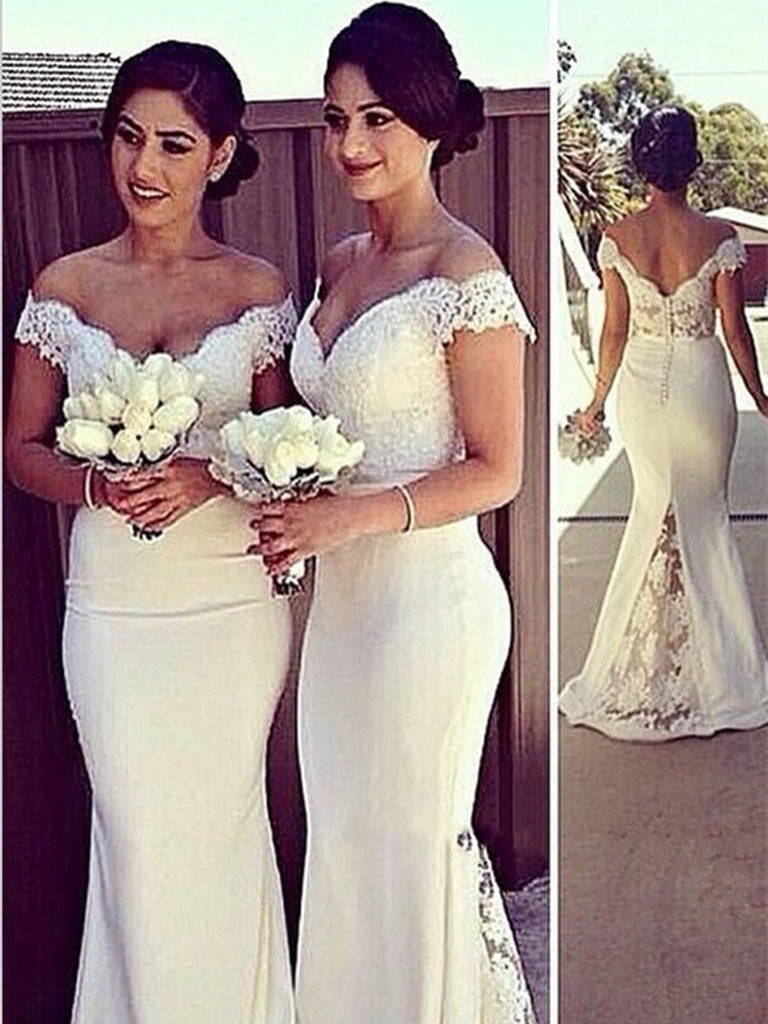 b399a8997f1d White Mermaid Off Shoulder Lace Prom Dresses