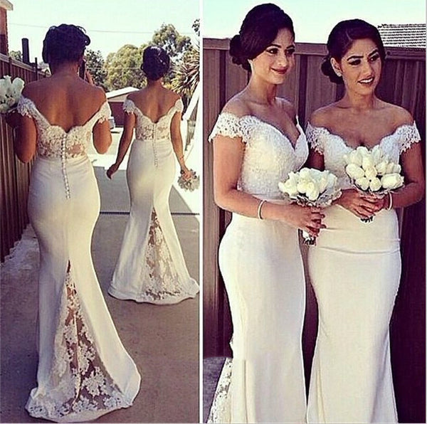 White Mermaid Off Shoulder Lace Prom Dresses, Lace Formal Dresses, White Lace Bridesmaid Dresses