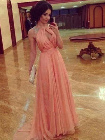 Round Neck Cap Sleeves Backless Long Prom Dress, Long Formal Dress, Bridesmaid Dress