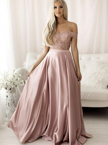2 Pieces Off Shoulder Pink Lace Long Prom Dresses, Two Pieces Pink Lace Formal Dresses, Pink Lace Evening Dresses