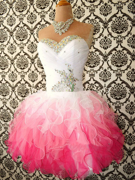 Sweetheart Neck White and Pink Short Prom Dress, Prom Gown, Short Graduation Dress, Homecoming Dress
