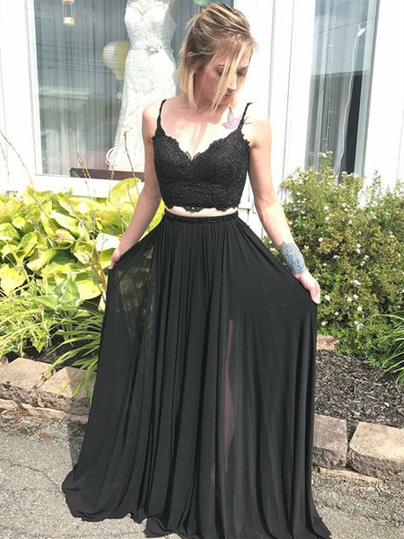 2 Piece V Neck Spaghetti Straps Black Lace Long Prom Dresses, Black 2 Pieces Graduation Dresses, Black Formal Evening Dresses