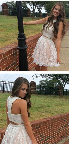 2 Pieces Lace Short Prom Dresses, 2 Pieces Homecoming Dresses, Lace Homecoming Dresses