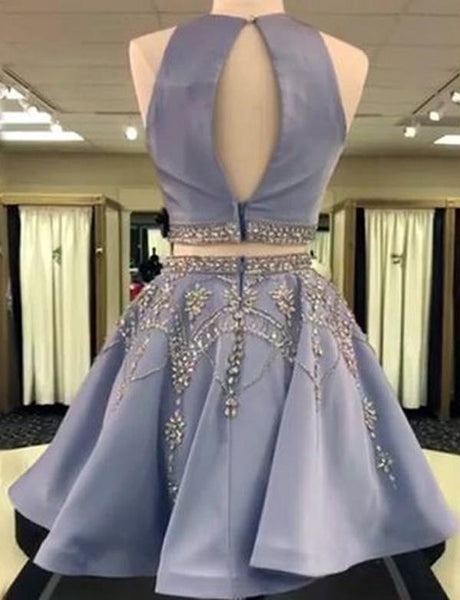 2 Pieces Satin Beaded Prom Dresses, 2 Pieces Homecoming Dresses, Formal Dresses, Graduation Dresses