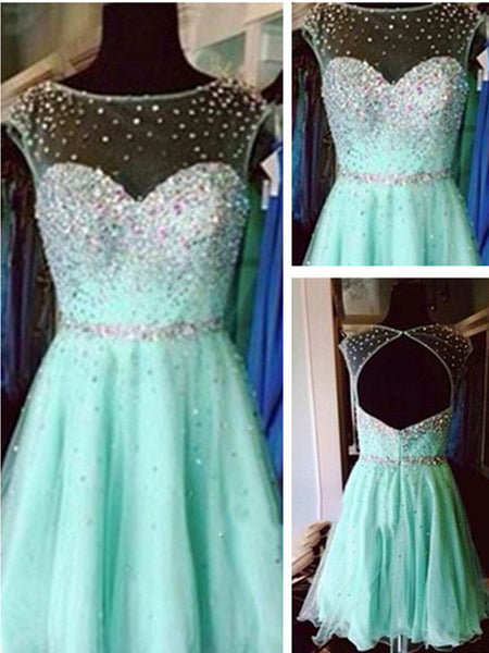 Custom Made A Line Round Neck Short Green Prom Dress, Short Green Graduation Dress, Short Green Homecoming Dress