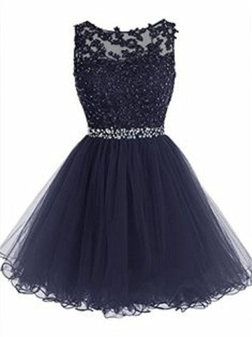 A Line Round Neck Short Navy Blue Prom Dresses, Short Navy Blue Homecoming Dresses, Formal Dresses
