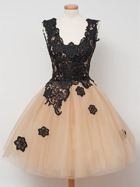 Short Champagne Prom Dresses with Black Lace Appliques, Champagne Homecoming Dresses, Graduation Dresses