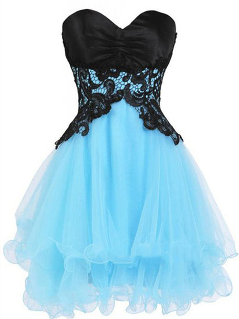 Custom Made Sweetheart Neck Short Blue Prom Dress with Black Lace Flower, Short Blue Homecoming Dress, Graduation Dress