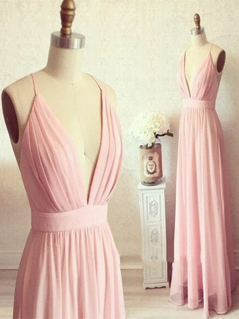 Custom Made A Line V Neck Backless Long Prom Dress, V Neck Backless Formal Dress, Bridesmaid Dress