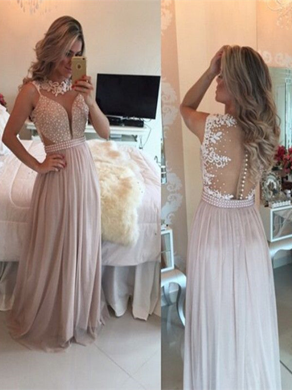 Custom Made A Line Round Neck Floor Length Lace Prom Dress, Long Lace Formal Dress