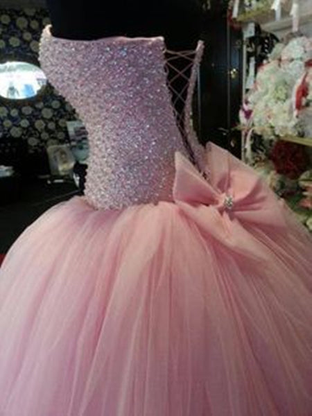 Custom Made Pink Prom Dresses, Pink Ball Gown Dresses
