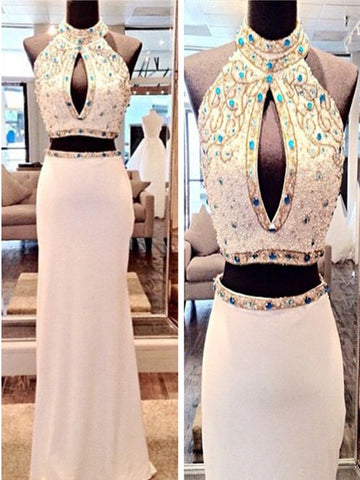 Custom Made Round Neck 2 Pieces White Prom Dresses, 2 Pieces White Formal Dresses
