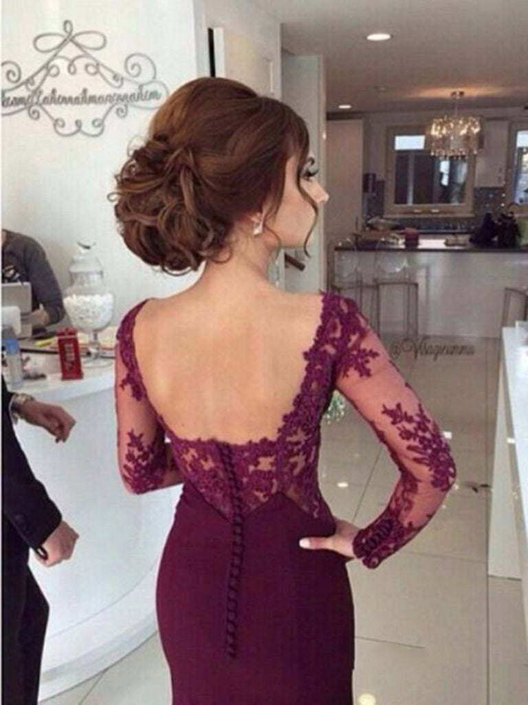 Custom Made Long Maroon Lace Prom Dresses, Formal Dresses