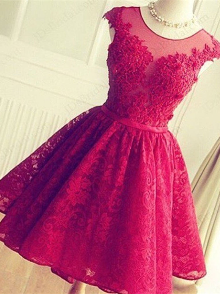 A Line Round Neck Short Lace Prom Dresses, Short Lace Formal Dresses, Graduation Dresses, Homecoming Dresses