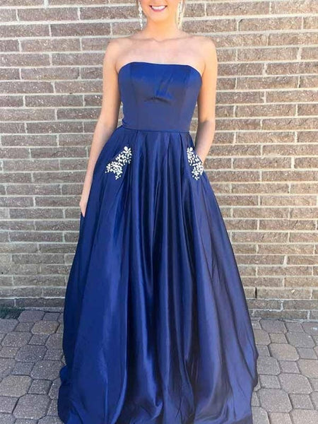 A-Line Strapless Blue Prom Dress with Beading Pockets, Green Formal Dress, Blue Evening Dress