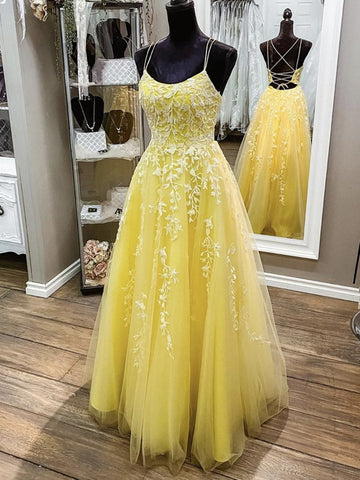 A Line Backless Yellow Lace Long Prom Dresses, Yellow Lace Formal Graduation Evening Dresses