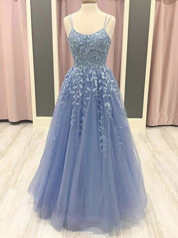 A Line Blue Lace Long Prom Dresses, Blue Lace Formal Dresses, Blue Evening Dresses