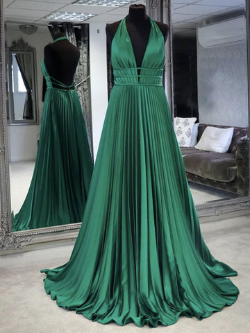 A Line Halter Neck Backless Green Long Prom Dresses, Backless Green Formal Dresses, Green Evening Dresses