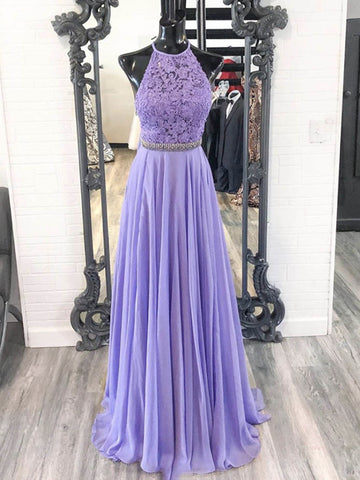 A Line Halter Neck Purple Lace Prom Dresses with Belt, Lilac Lace Formal Dresses, Purple Evening Dresses
