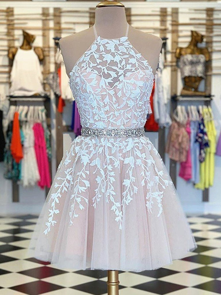 A Line Halter Neck Short Champagne Lace Prom Dresses, Champagne Lace Formal Graduation Homecoming Dresses