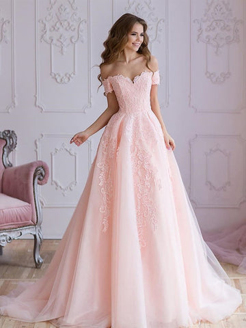 A Line Off Shoulder Pink Lace Prom Dresses, Pink Lace Wedding Dresses, Pink Evening Dresses